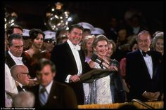 President and Nancy Reagan at podium at the inaugural gala in the Kennedy Center in 1981