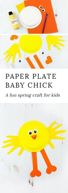 Looking for an easy and fun spring craft for kids? This vibrant Paper Plate Chick Craft, created from construction paper and a paper plate, is perfect for welcoming spring at home or school! #springcrafts #paperplatecraftsforkids #craftsforpreschoolers via @https://www.pinterest.com/fireflymudpie/