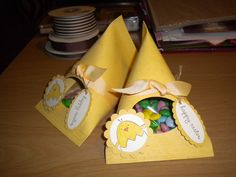 These sour cream containers make super cute Easter treat boxes.
