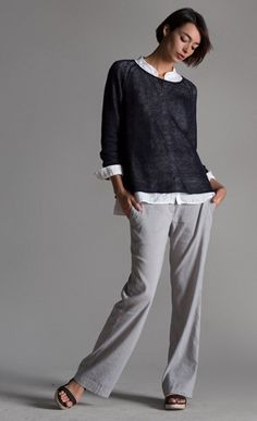 Eileen fisher-spring lässiger look, fashion over eileen fisher, casual chic Fashion Over 50, Look Fashion, Fashion Outfits, Womens Fashion, Eileen Fisher, Mode Style, Style Me, Casual Chic, Casual Outfits