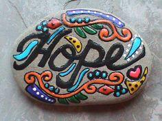 Painted Rocks/Painted Stones/Beach Stone Art/Hope/Inspirational/Courage/Lake Erie. $9.99, via Etsy.
