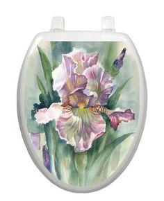 Toilet Tattoos Toilet Lid Cover  Decor Watercolor Iris Reusable Vinyl #1083 #ToiletTattoos