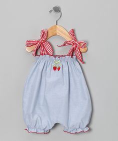 Love this Denim Blue Strawberry Bubble Romper - Infant & Toddler by Victoria Kids on #zulily! #zulilyfinds