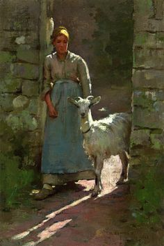 Theodore Robinson (American, 1852-1896), [Old Lyme Colony, Impressionism] Girl with Goat, 1886.
