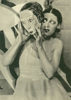 """* Miss Laurie Divine in """"Dance, Little Lady"""". Mask by Oliver Messel. Photo by Maurice Beck & Helen Macgregor, 1928."""