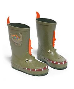 Take a look at this Green Dinosaur Rain Boot by Kidorable on #zulily today!