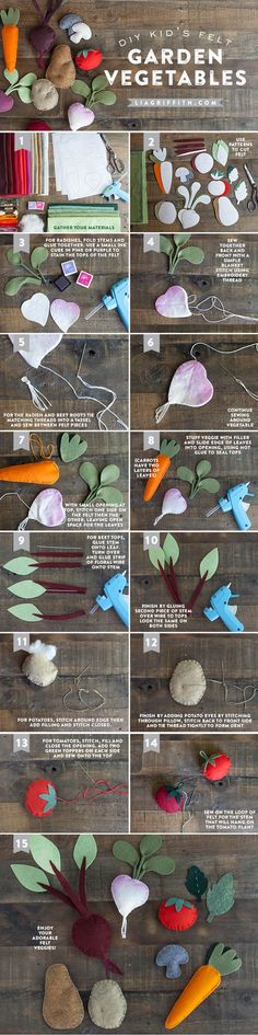 Felt Vegetables Make this gorgeous DIY felt veggie garden with this simple tutorial from Lia Griffith.Make this gorgeous DIY felt veggie garden with this simple tutorial from Lia Griffith. Baby Crafts, Felt Crafts, Craft Projects, Sewing Projects, Crafts For Kids, Felt Play Food, Felt Diy, Diy Toys, Felt Flowers