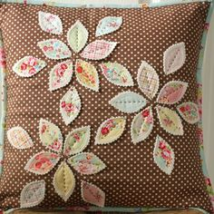 Lovely pillow by Nana Company - petals fused/sewn on white wool felt, hand stitching, floral piping, linen envelope back...
