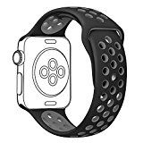 #10: OULUOQI Apple Watch Band 42mm Soft Silicone iwatch Band with Ventilation Holes for Apple Watch Nike Apple Watch Series 2 Series 1 Sport Edition M/L Size ( Black / Gray ) - Shop for iPhone 6 and 6s cases (http://amzn.to/2bALgTW) unlocked iPhones (http://amzn.to/2bAKkz7) Samsung Galaxy smartphones (http://amzn.to/2bKd1Iy) accessories (http://amzn.to/2cjPALD)