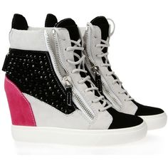 Giuseppe Zanotti Sneakers Women ($1,025) ❤ liked on Polyvore featuring shoes, sneakers, wedges, heels, sapatos, giuseppe zanotti sneakers, high top sneakers, platform wedge shoes, heeled sneakers and wedge heel shoes