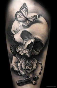 love the skull and rose in this.