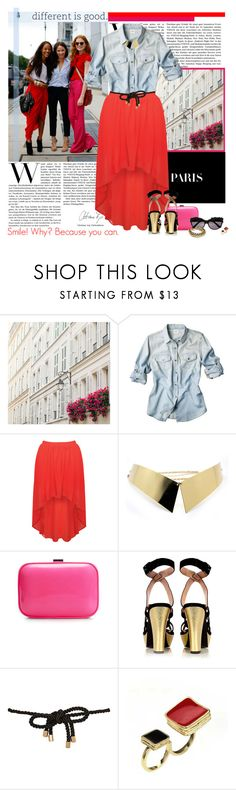 """""""Street style: Red + Fuchsia!"""" by minnie-me ❤ liked on Polyvore featuring Shabby Chic, Rare London, Zara, Marc by Marc Jacobs, River Island, Kenzo, Flutter By Jill Golden, hem skirt, street style and metal collar necklace"""