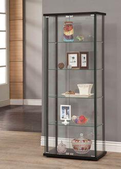 Coaster Furniture Black Gl Curio Cabinet With Shelves