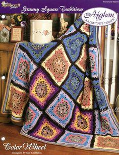 Color Wheel Afghan, Granny Square Traditions crochet pattern #TheNeedlecraftShop