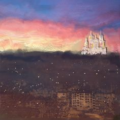 Fourvière, Lumière, city in the fog – mixed media – February 2020 - Modern Living Room Decor, Living Spaces, Bedroom Decor, Night Lamps, Other Rooms, City, Modern, February, Home Decor