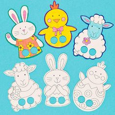 Colour In Finger Puppets -Easter