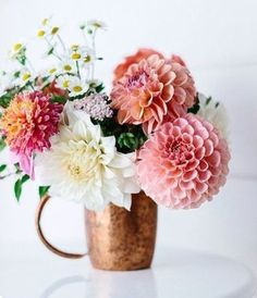21 Fresh Cut Spring Flower Arrangements and Bouquets {Re-gram} from You're making us see spring with this mix of vibrant colors! We love the accent of the copper mug! My Flower, Fresh Flowers, Spring Flowers, Beautiful Flowers, Spring Blooms, Simply Beautiful, Easter Flowers, Bright Flowers, Cactus Flower