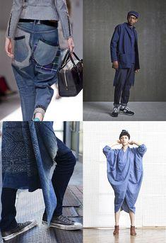 indigo-patchwork-sashiko-jeans-japan. Junya Watanabe via fashionising.com, Wisdom via la-superette.fr, foto via tommyton.tumblr.com en 69 cocoon dress via vfiles.tumblr.com
