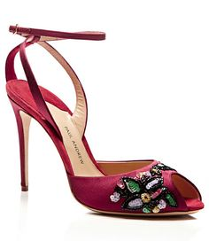 Paul Andrew Europeans Embroidered Satin Sandals