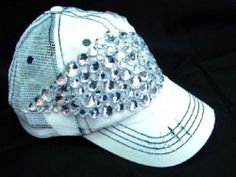 Olive Pique White Destroyed Rugged Baseball Hat Rhinestone Bling Star Cowgirl | eBay