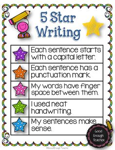 Good Enough Teacher: 5 Star Writing {poster  a freebie}
