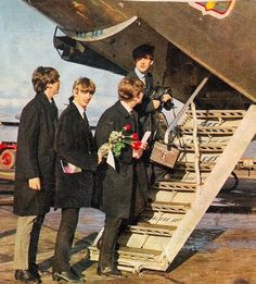 TheBeatles leaving Stockholm Airport at the end of their Swedish Tour, 31st October 1963