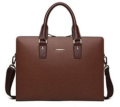 BOSTANTEN Leather Lawyers Briefcase Shoulder Laptop Business Bags for Men  Women Coffee ** Click on the image for additional details.