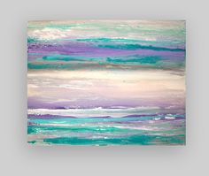 Turquoise and Purple Original Acrylic Abstract by OraBirenbaumArt