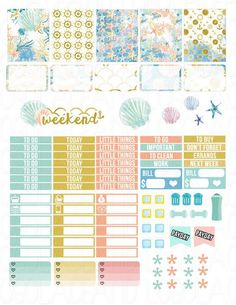 Printable Planner Stickers Sea Beach Summer Ocean by LaceAndLogos: