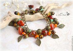 """Браслет """"Листопад"""" - рыжий,осень,осенний браслет,листопад,браслет из камней"""