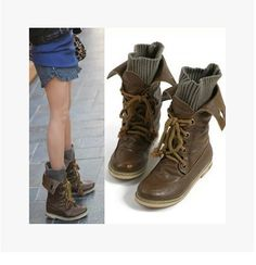 2017 new Free shipping autumn  winter snow boots star personality bandage knit Knight Martin boots female Large yard 34-43 zk2.5