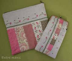 Conjunto romántico de neceser y práctica funda de gafas, realizado con telas de patchwork en tonos rosas y verdes, y bordados de flores con los mismos tonos sobre tela de lino.