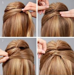 Remember that pull-back bang look in the early 2000s? Here's a more polish and elegant way to rock the half-up hair. Tips: You can start off with your natural texture or you can curl. 1. Make sure your hair is detangled. 2. Take some hair from the crown and tease it to create volume. 3. Carefully twist back and pin the crown of your hair. 4. Using hair from the opposite side of the first twist, section the remaining amount of hair above your ear. 5. Smooth and pull across 6. Gently...