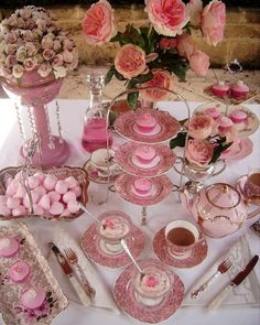 Bridal shower dessert table propped with vintage china.