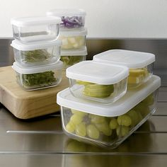 Shop 3-Piece Rectangular Storage Container Set.  Hygienic, stain-resistant glass containers go from fridge to microwave.  Sized to handle smaller condiments to entrees, with durable snap-on plastic lids.  Set nests when not in use (see additional photos).