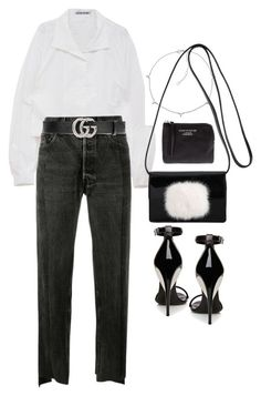 """""""Untitled #2595"""" by mariie0h ❤️ liked on Polyvore featuring Vetements, Gucci, Jennifer Zeuner, Yves Saint Laurent, La Perla and Acne Studios"""