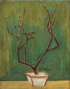 'Magpie on a Prunus Branch' by Chinese-French painter Sanyu (1901-1966). Oil on board, 94 x 73.5 cm. via art of Sanyu
