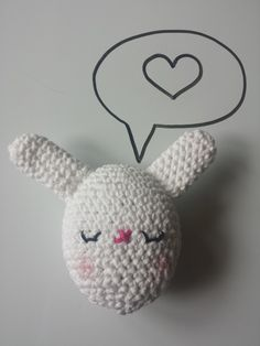 Crochet stuffed Bunny Egg toy, in 100% Cotton, Pastel White, Available in other colours by CroShellbyshelley on Etsy