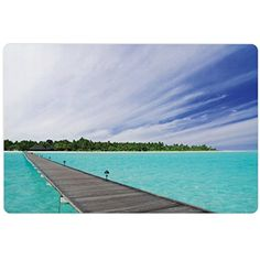 Landscape Pet Mats for Food and Water by Lunarable, View from Deck at Tropical Island with Exotic Hawaii Sky Landscape, Rectangle Non-Slip Rubber Mat for Dogs and Cats, Turquoise Brown Green ** Want to know more, click on the image. (This is an affiliate link) #DogFeedingWateringSupplies