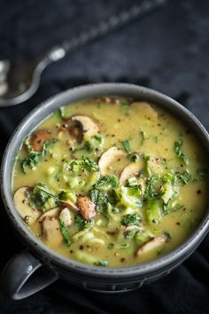 Coconut soup with bok choy and mushrooms.