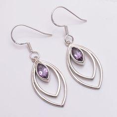 Natural Amethyst Stone Handmade 925 Sterling Silver Christmas Earrings Jewelry #Handmade #DropDangle