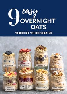 9 Easy Overnight Oats with tips on how to cook the perfect simple oatmeal for bu. - 9 Easy Overnight Oats with tips on how to cook the perfect simple oatmeal for busy mornings. Overnight Oats Receita, Overnight Oats With Yogurt, Easy Overnight Oats, Overnight Breakfast, Blueberry Overnight Oats, Low Calorie Overnight Oats, Cinnamon Apple Overnight Oats, Make Ahead Oatmeal, Chocolate Overnight Oats
