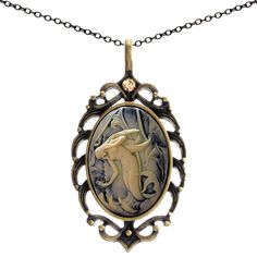 Small Cameo Necklace Glass Resin Jewelry 2pc Chains Pouch for Gift -- You can get additional details at the image link.