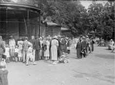 1935,Bezoekers van de Rotterdamsche Diergaarde voor een apenkooi.