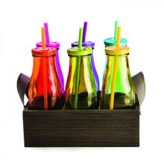 6x Coloured Milk Bottle Glasses   Wooden Crate | glass bottles wood retro on Yellow Octopus