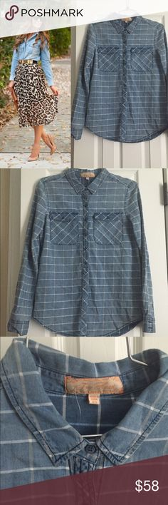 Chambray Button Down Shirt New with tags! New condition size XS . Perfect chambray transitions to summer and fall great layering piece. Modeled pic is for styling inspiration and is courtesy of Pinterest. Brand is Free Heart J. Crew Tops Button Down Shirts