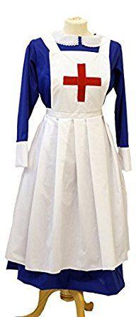 1900 Edwardian Dresses, Tea Party Dresses, White Lace Dresses Wartime-WW2-1940s-LARP-Victorian Blue matron-Nurses Uniform fancy dress $88.00 AT vintagedancer.com