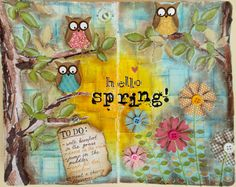 JIJI Cards: Art Journal: Spring {Art journal: Hello Spring!}