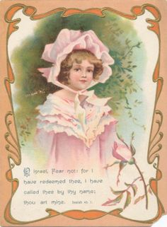 RARE Large Ellen Clapsaddle Bible Card Pretty Girl with Pink Rose | eBay