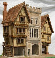 Intricate dolls house exterior ~ Trigger Pond Miniature Rooms, Miniature Houses, Bird Houses, Play Houses, Doll Houses, Medieval Houses, Victorian Houses, Dioramas, Tudor House